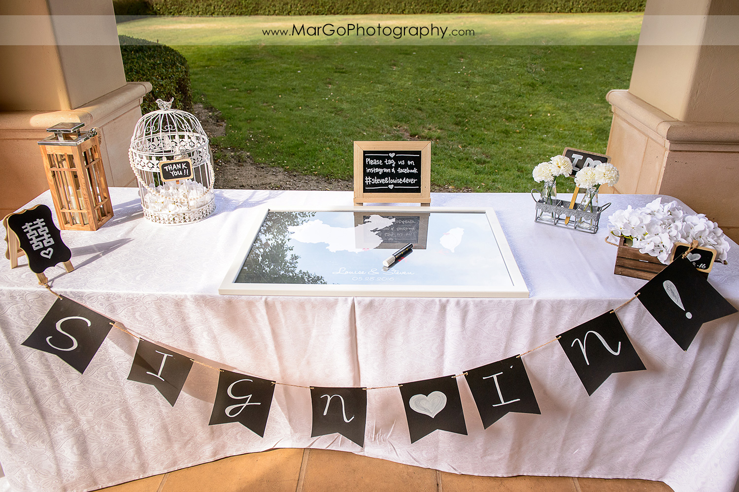 wedding gift table at the Club at Ruby Hill in Pleasanton