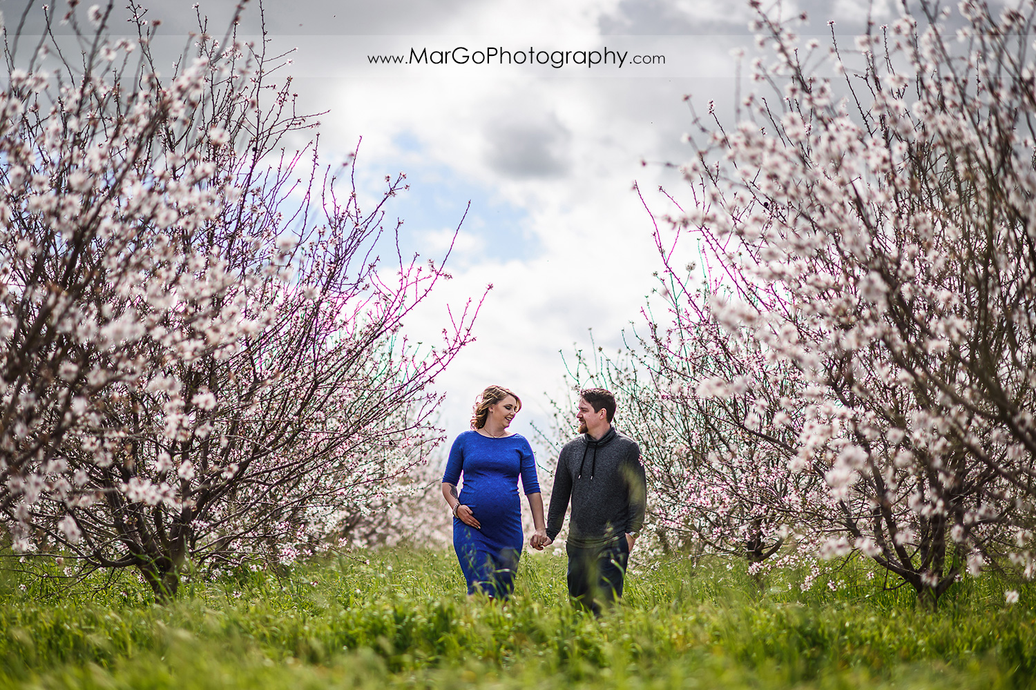 pregnant couple walking in the orchard, Tracy maternity session