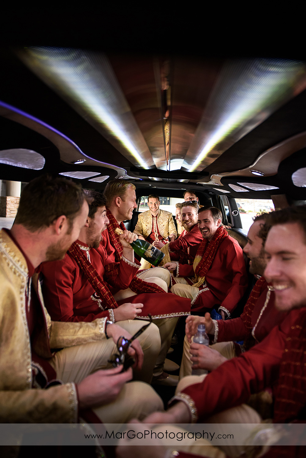 indian groom and groomsmen in the limousine