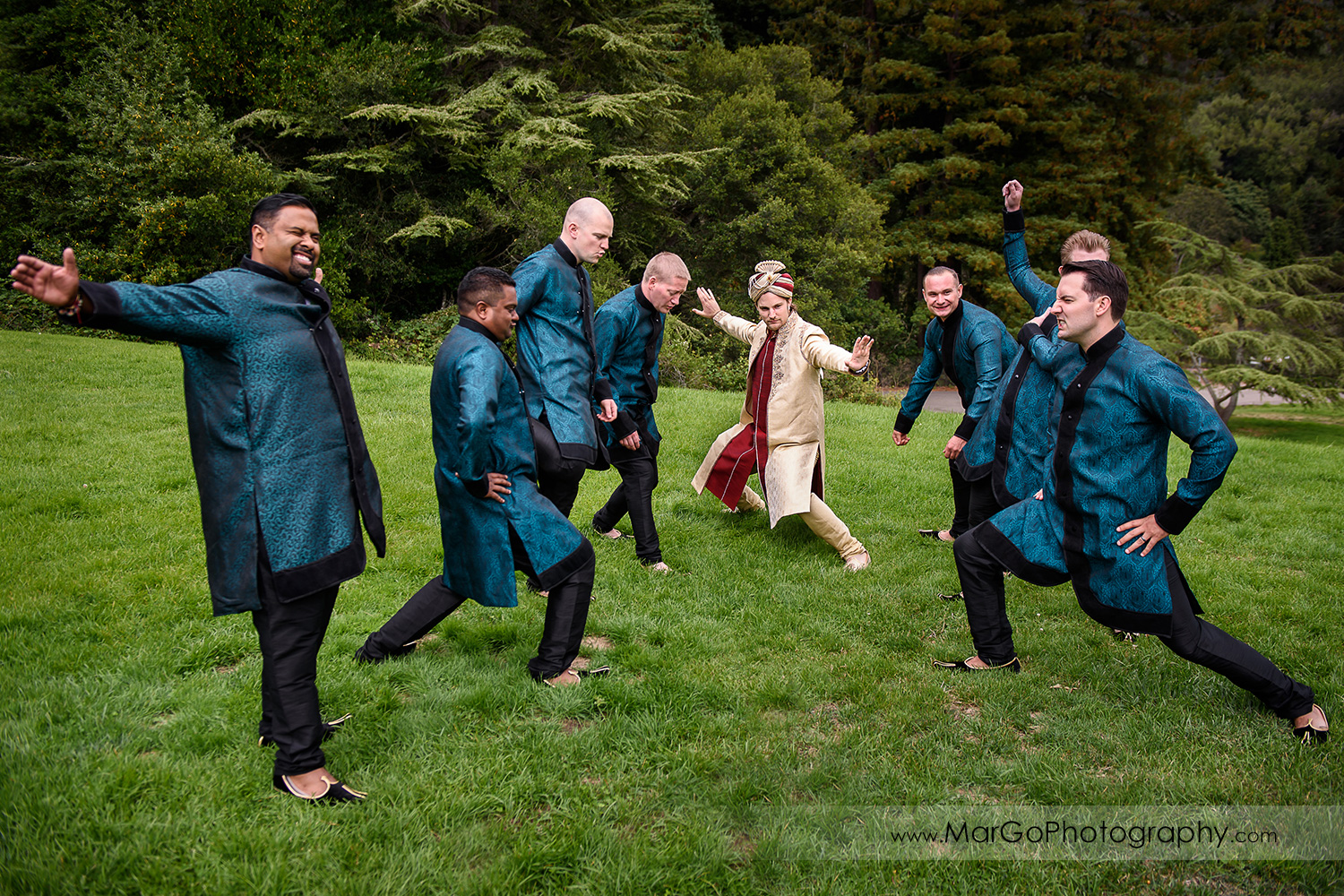 groom and groomsmen having fun at Indian wedding at Tilden Regional Park, Berkeley