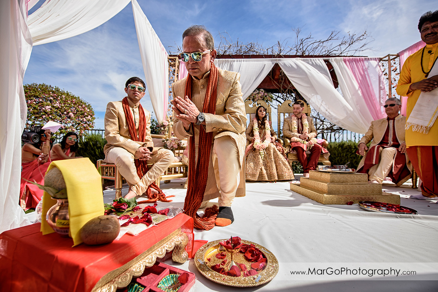 hindu priest during wedding ceremony at Palm Event Center in the Vineyard in Pleasanton