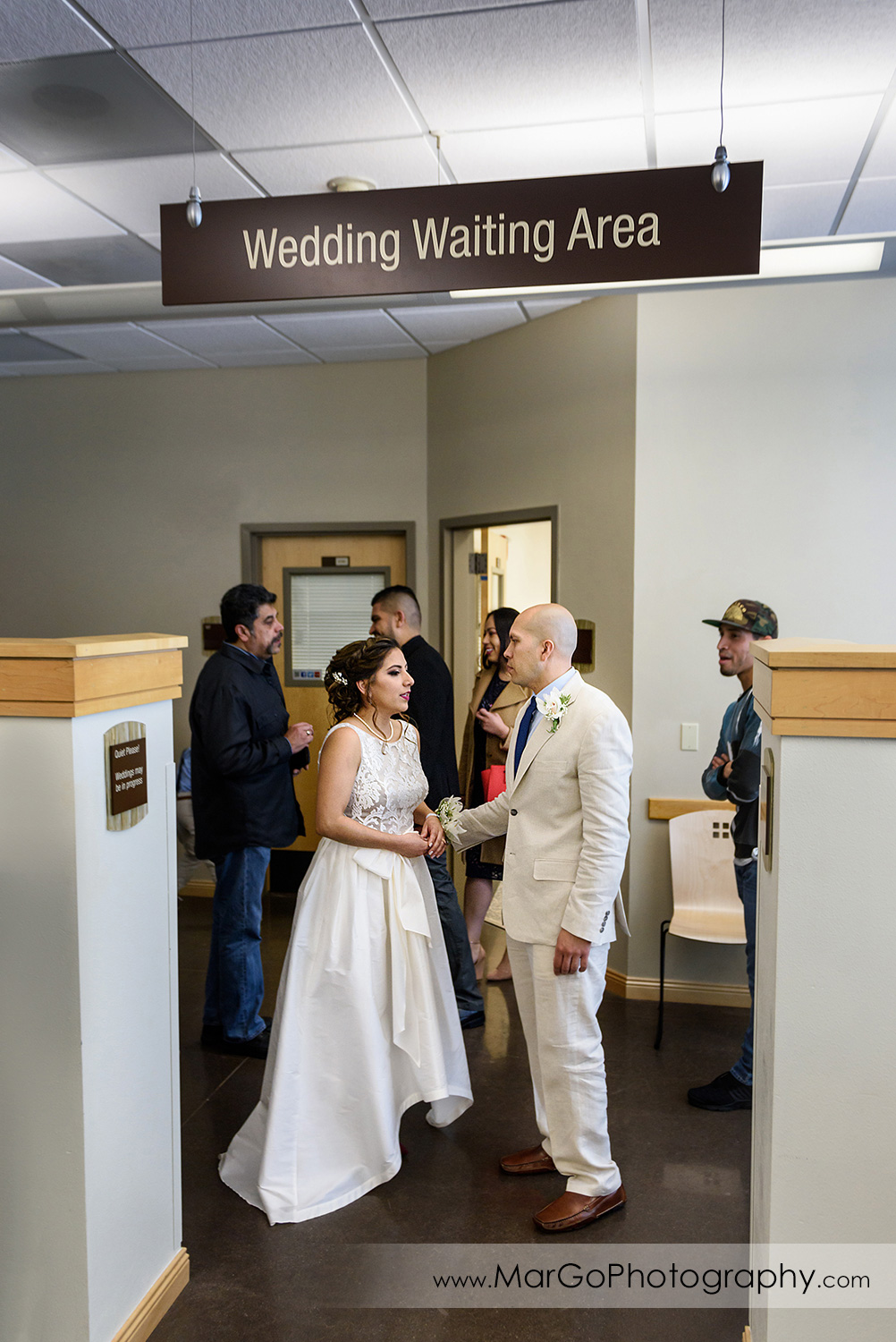 bride and groom waiting for ceremony at Contra Costa County Clerk-Recorder in Martinez