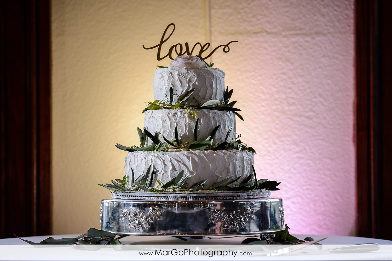 wedding cake by Cake Creations by Bev at Poppy Ridge Golf Course in Livermore