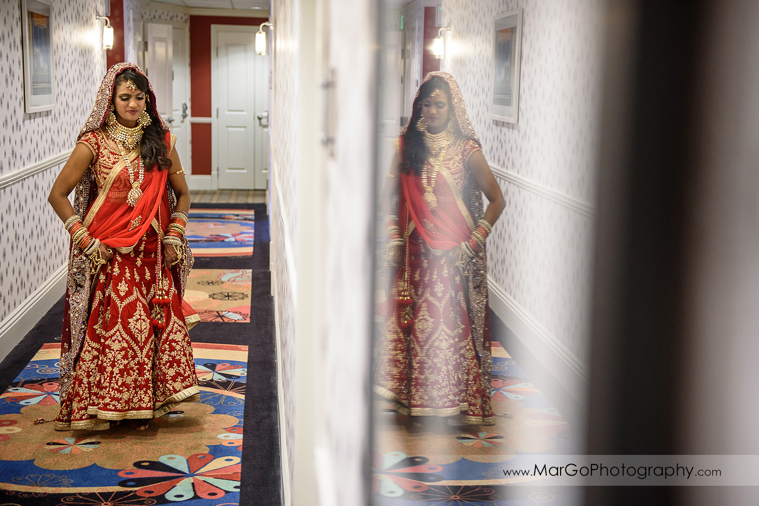 portrait of the indian bride at Hotel Shattuck Plaza in Berkeley