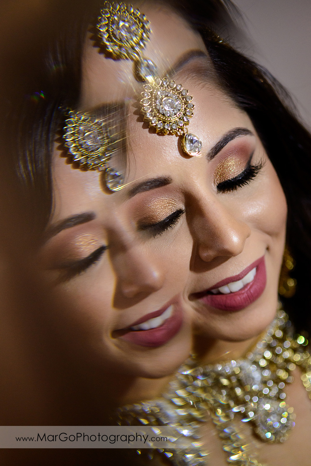 dreamy portrait of indian bride at DoubleTree by Hilton Pleasanton at the Club
