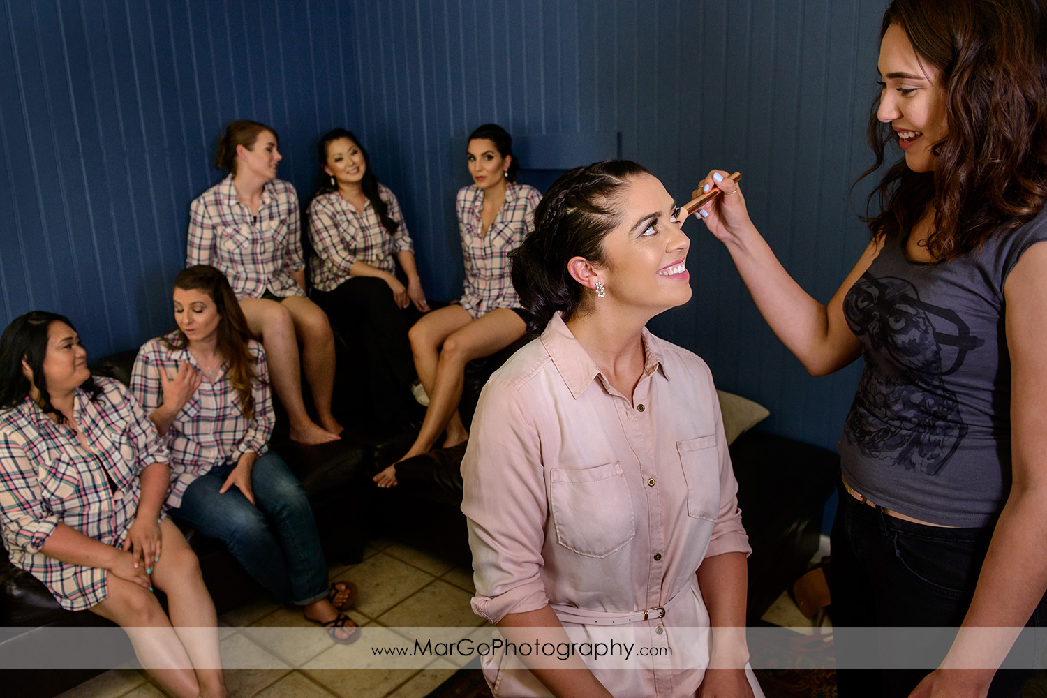 bride getting ready with bridesmaids at Picchetti Winery in Cupertino