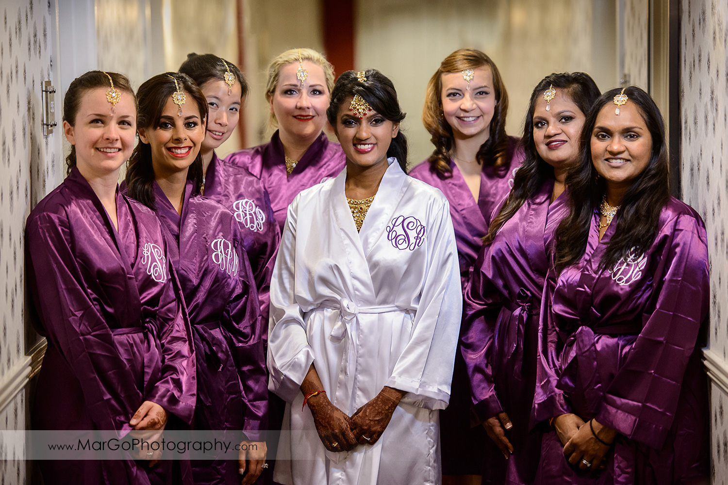 indian bride with bridesmaids in dressing-gowns at Hotel Shattuck Plaza in Berkeley