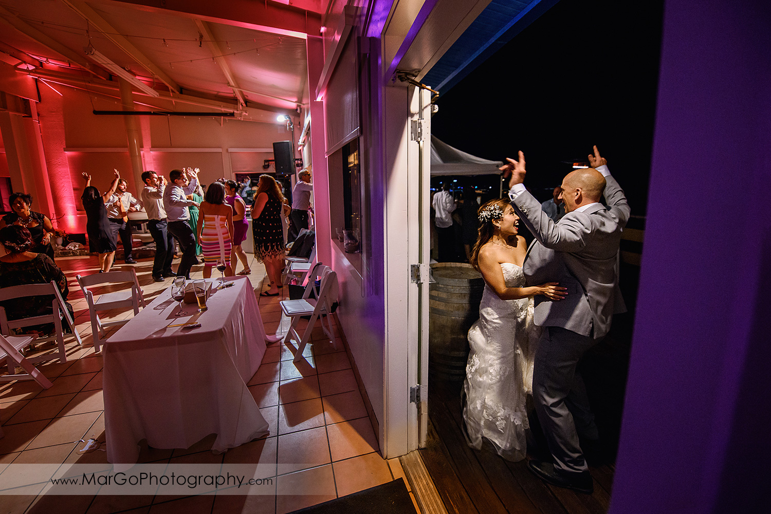 bride, groom and reception guests at Mavericks Event Center in Half Moon Bay