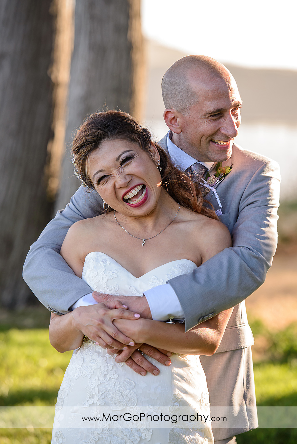portrait of bride and groom at Mavericks Event Center in Half Moon Bay
