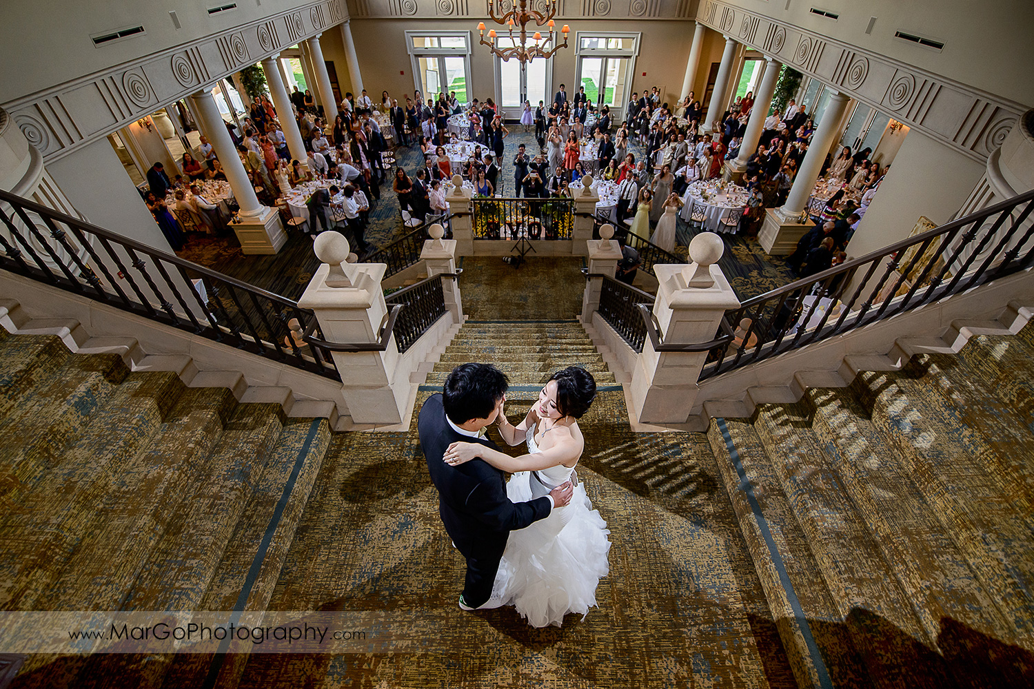 first dance on the stairs at the Club at Ruby Hill in Pleasanton