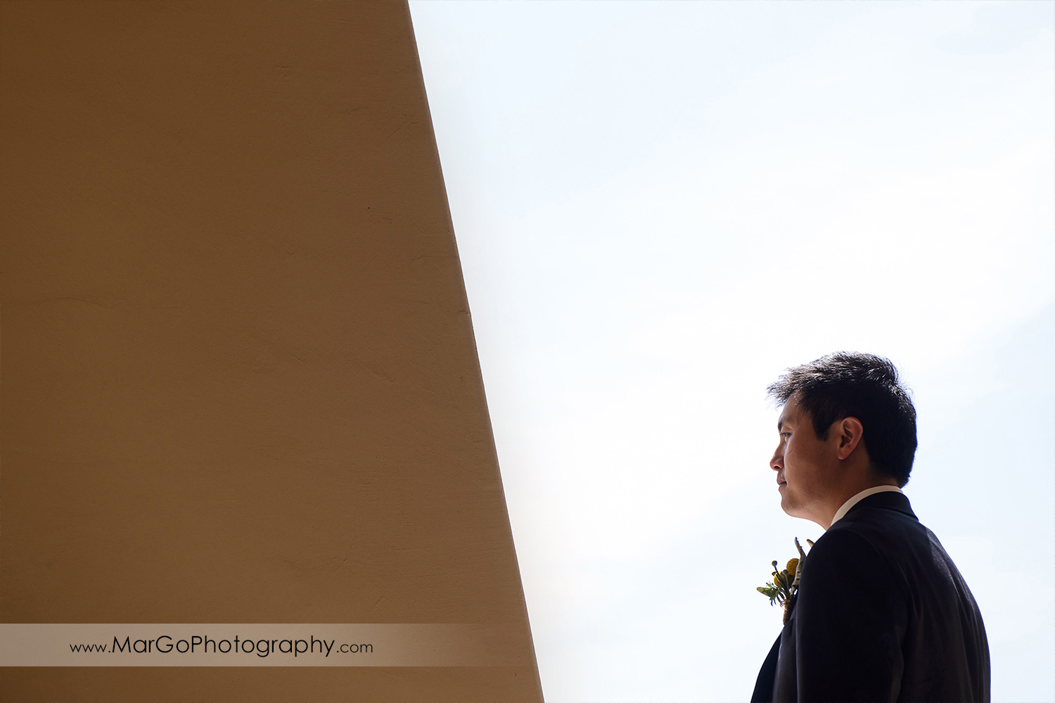 simple portrait of the groom at the Club at Ruby Hill in Pleasanton