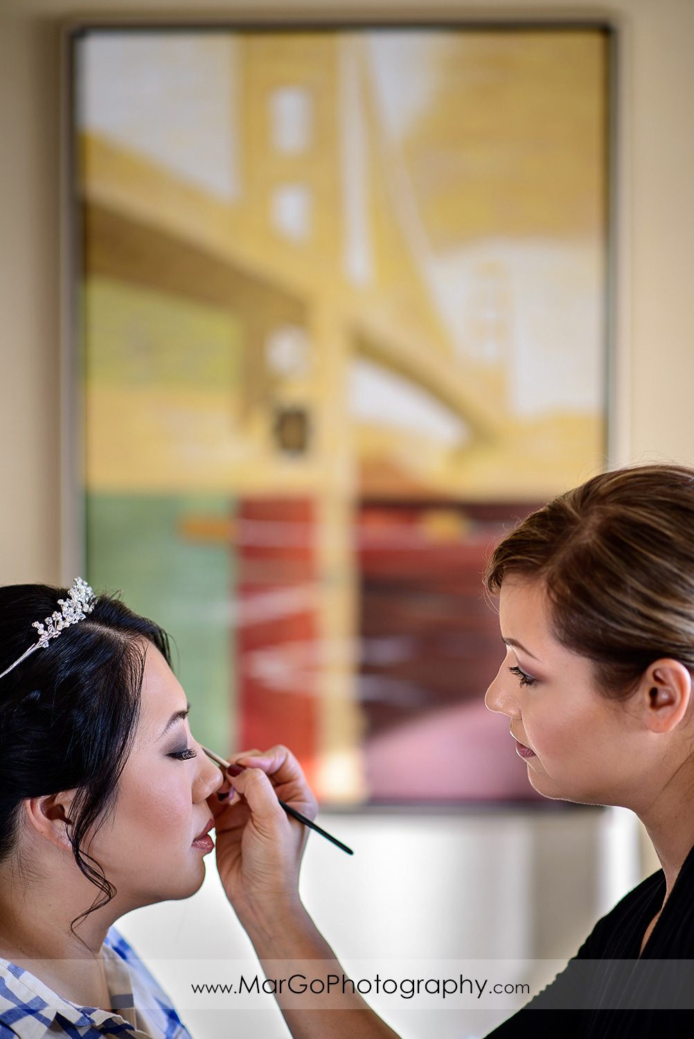 bridal makeup at Hilton San Francisco Airport Bayfront in Burlingame