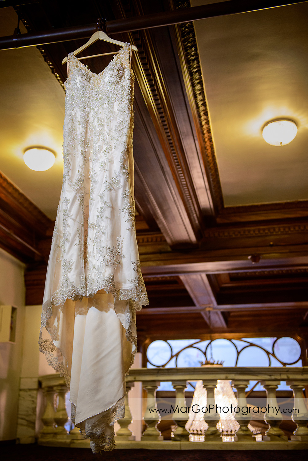 wedding dress hanging at Whitcomb Hotel in San Francisco