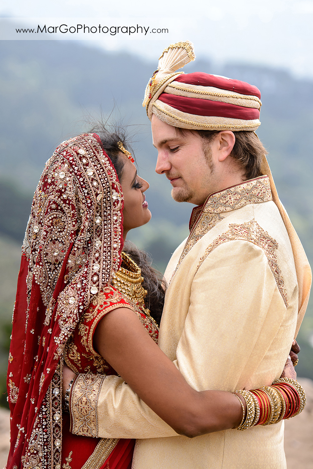 portrait of bride and groom before Indian wedding at Tilden Regional Park, Berkeley