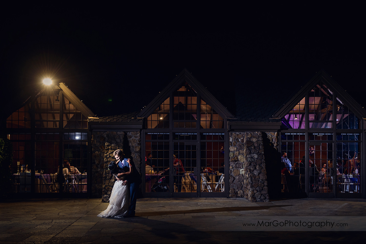 wnight shot of bride and groom at Brazilian Room - Tilden Regional Park, Berkeley