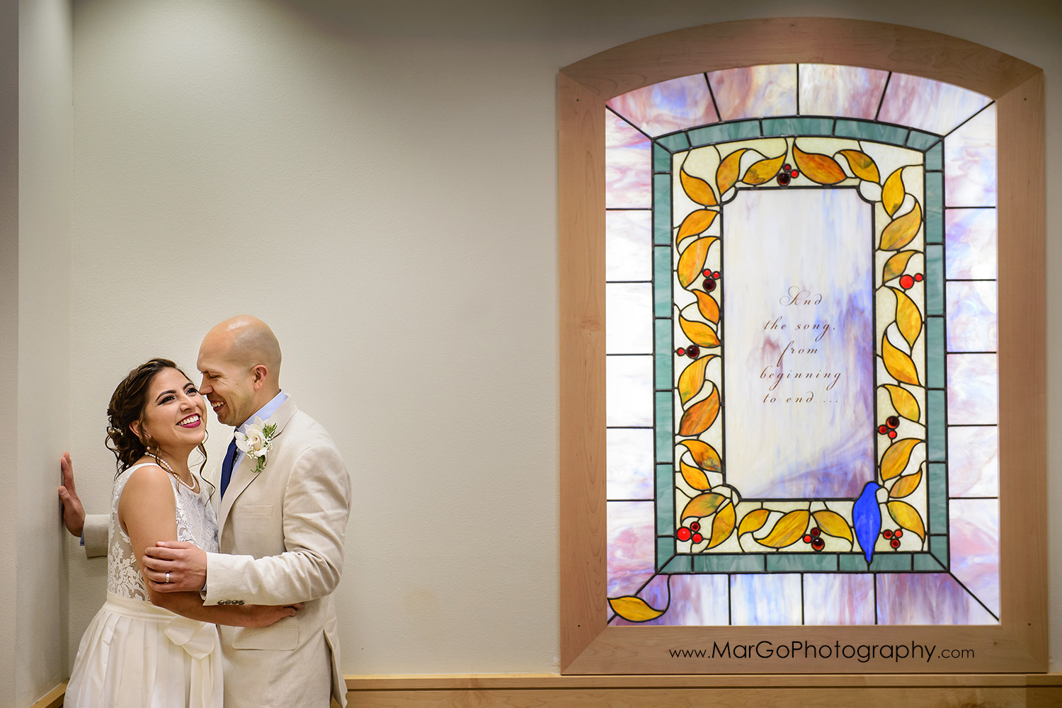 bride and groom in Large Ceremony Room at Contra Costa County Clerk-Recorder in Martinez