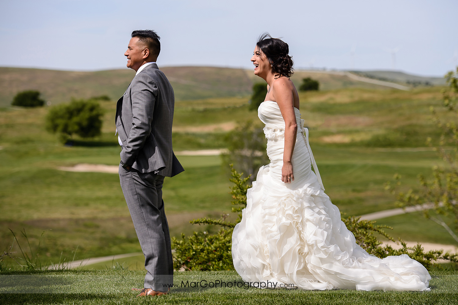 bride coming to groom during firts look at Poppy Ridge Golf Course in Livermore