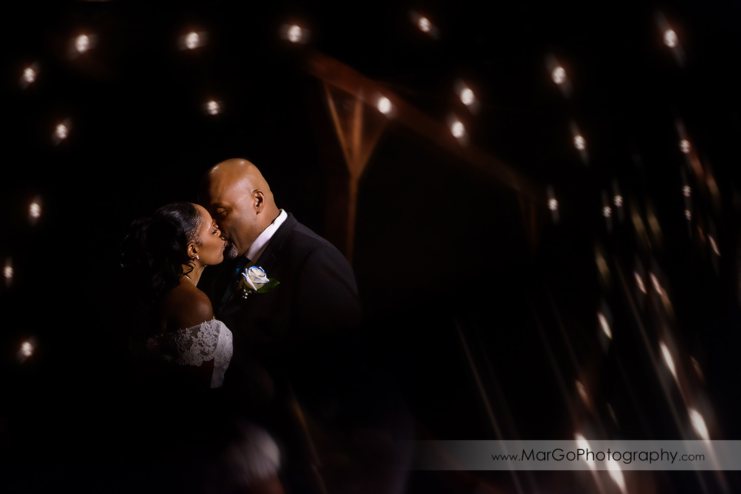 dreamy shot of bride and groom at Wedgewood Wedding & Banquet Center in Brentwood