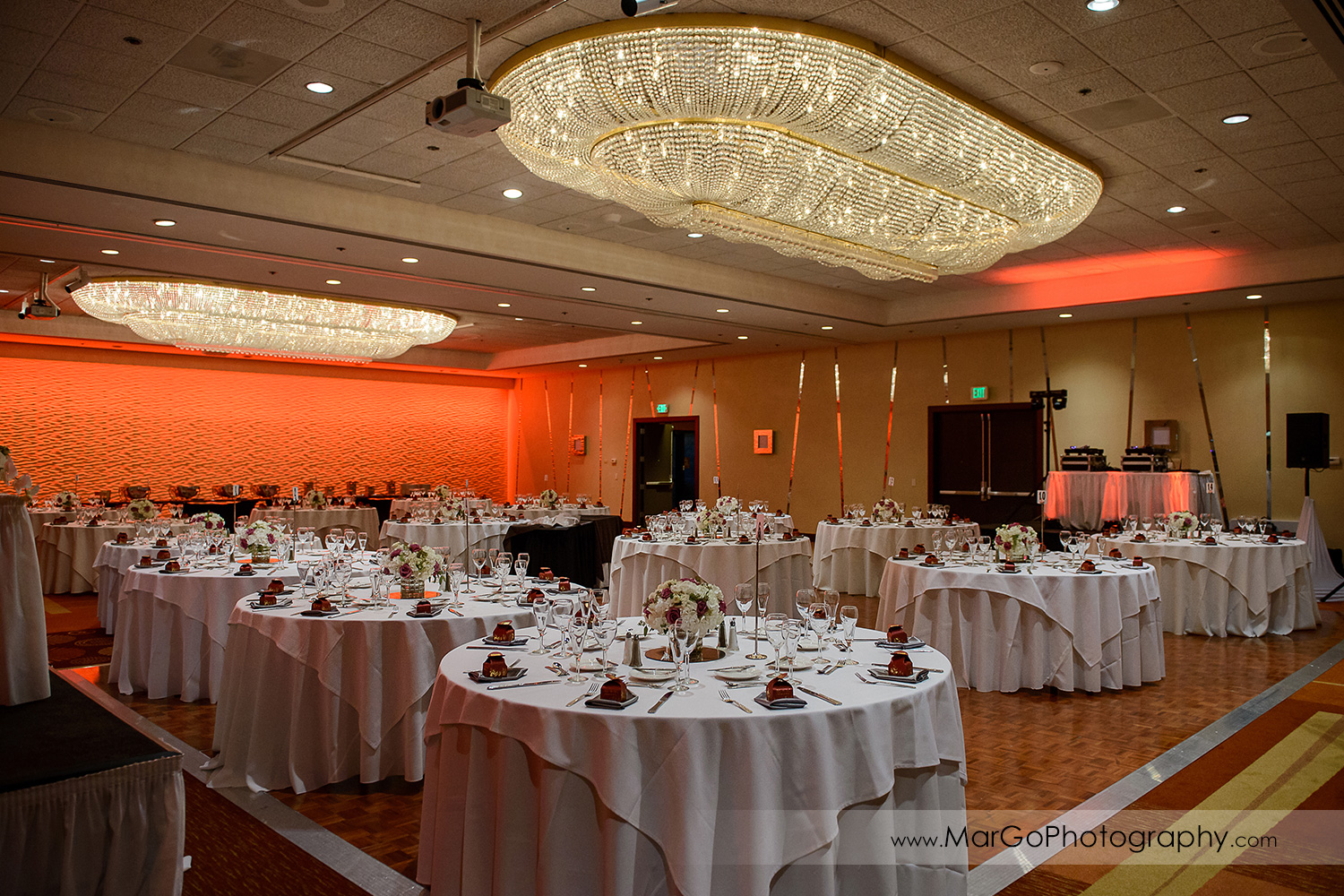 wedding reception ballroom at Hilton San Francisco Airport Bayfront in Burlingame