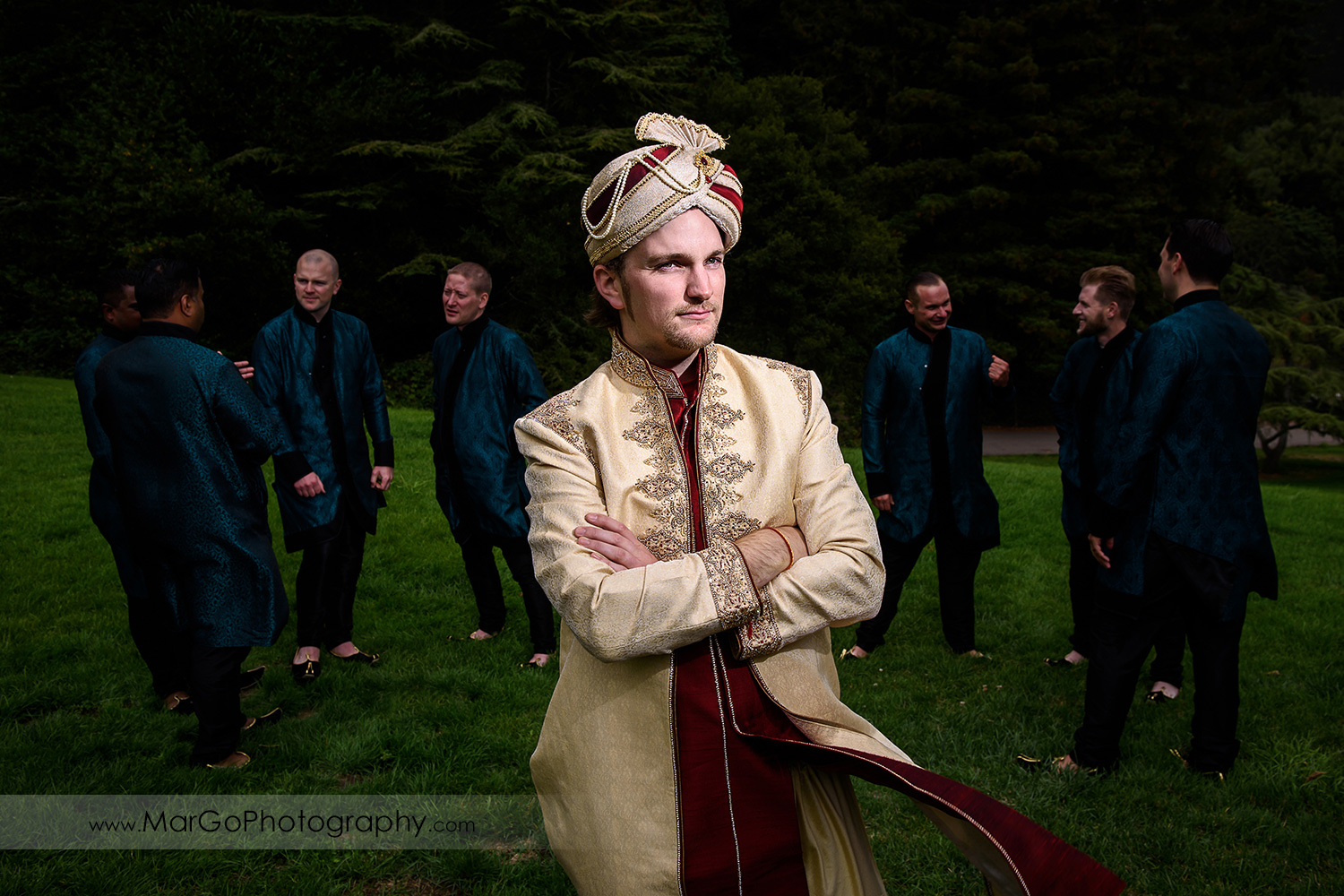 portrait of the groom and groomsmen at Indian wedding at Tilden Regional Park, Berkeley
