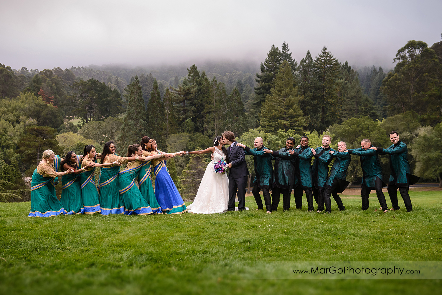 bride, groom and bridal party at Tilden Regional Park, Berkeley