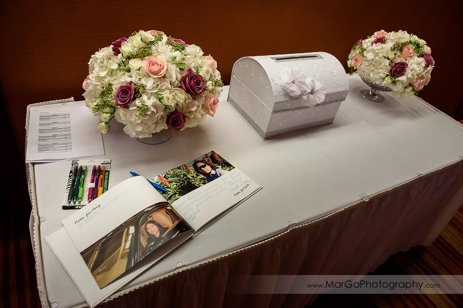 wedding gift table at Hilton San Francisco Airport Bayfront in Burlingame