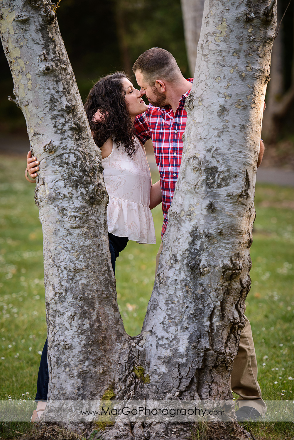 engaged couple kissing behind the trees at Sanborn County Park