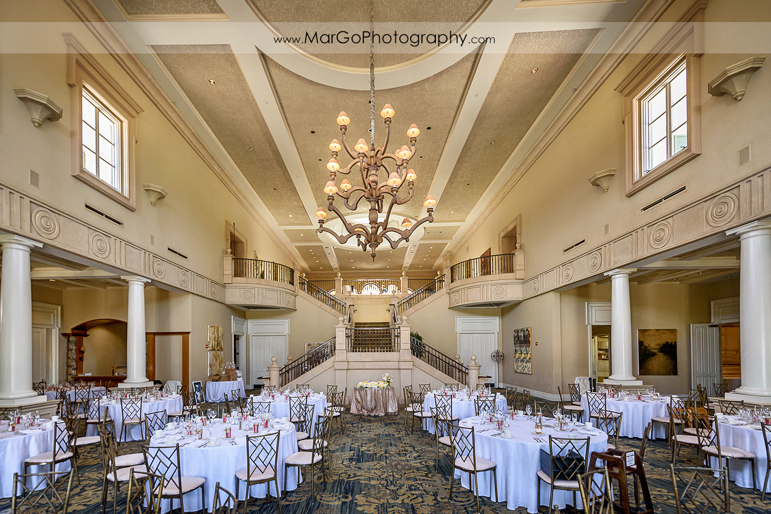 front view of wedding reception ballroom at the Club at Ruby Hill in Pleasanton