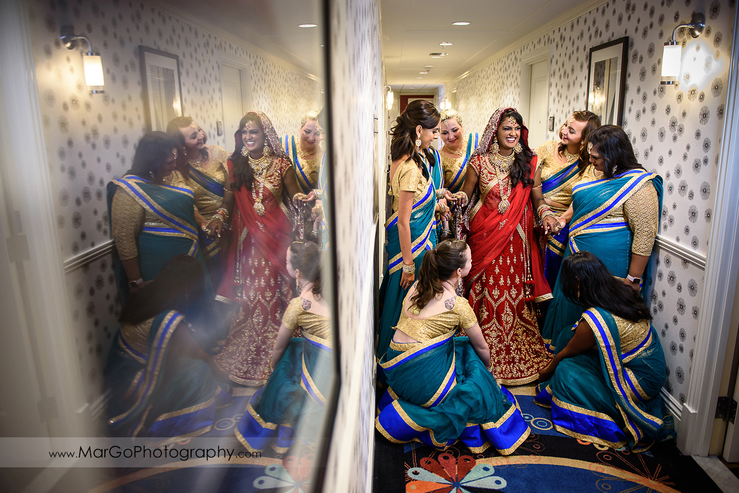 indian bride with the bridesmaids at Hotel Shattuck Plaza in Berkeley