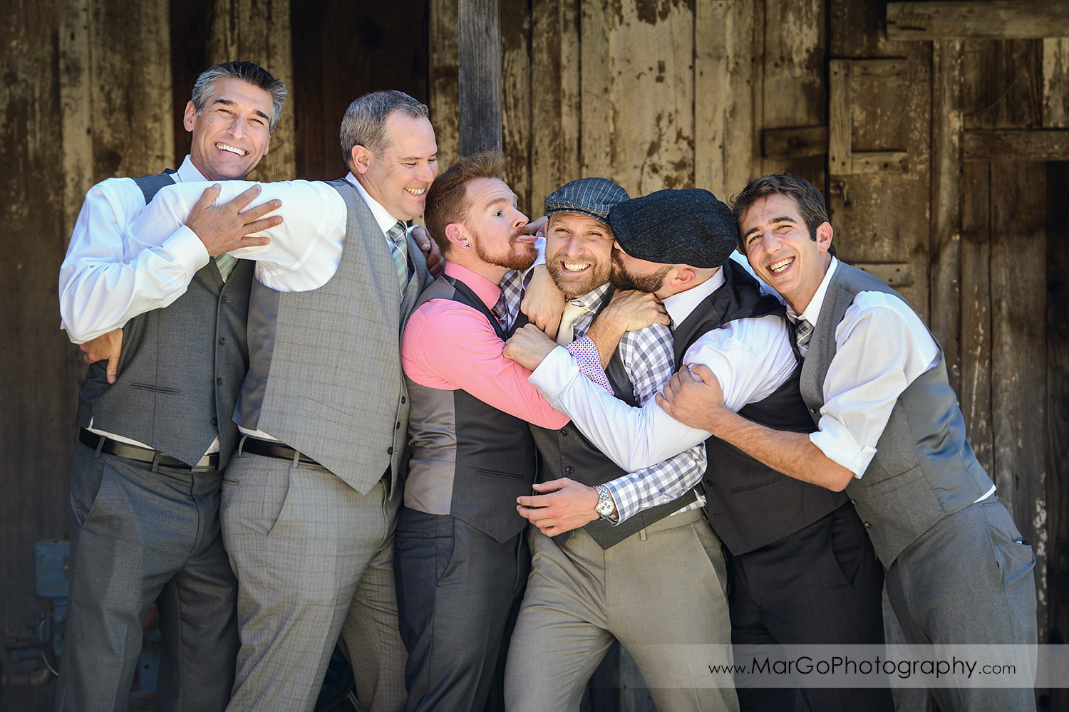 groom and groomsmen at Picchetti Winery in Cupertino