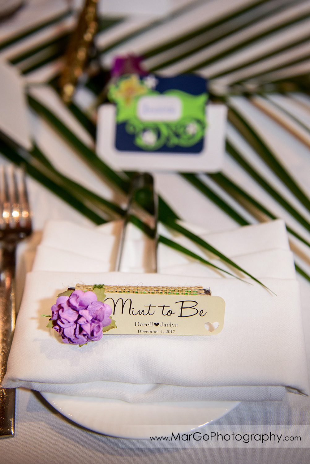 wedding place card at Pampas in Palo Alto