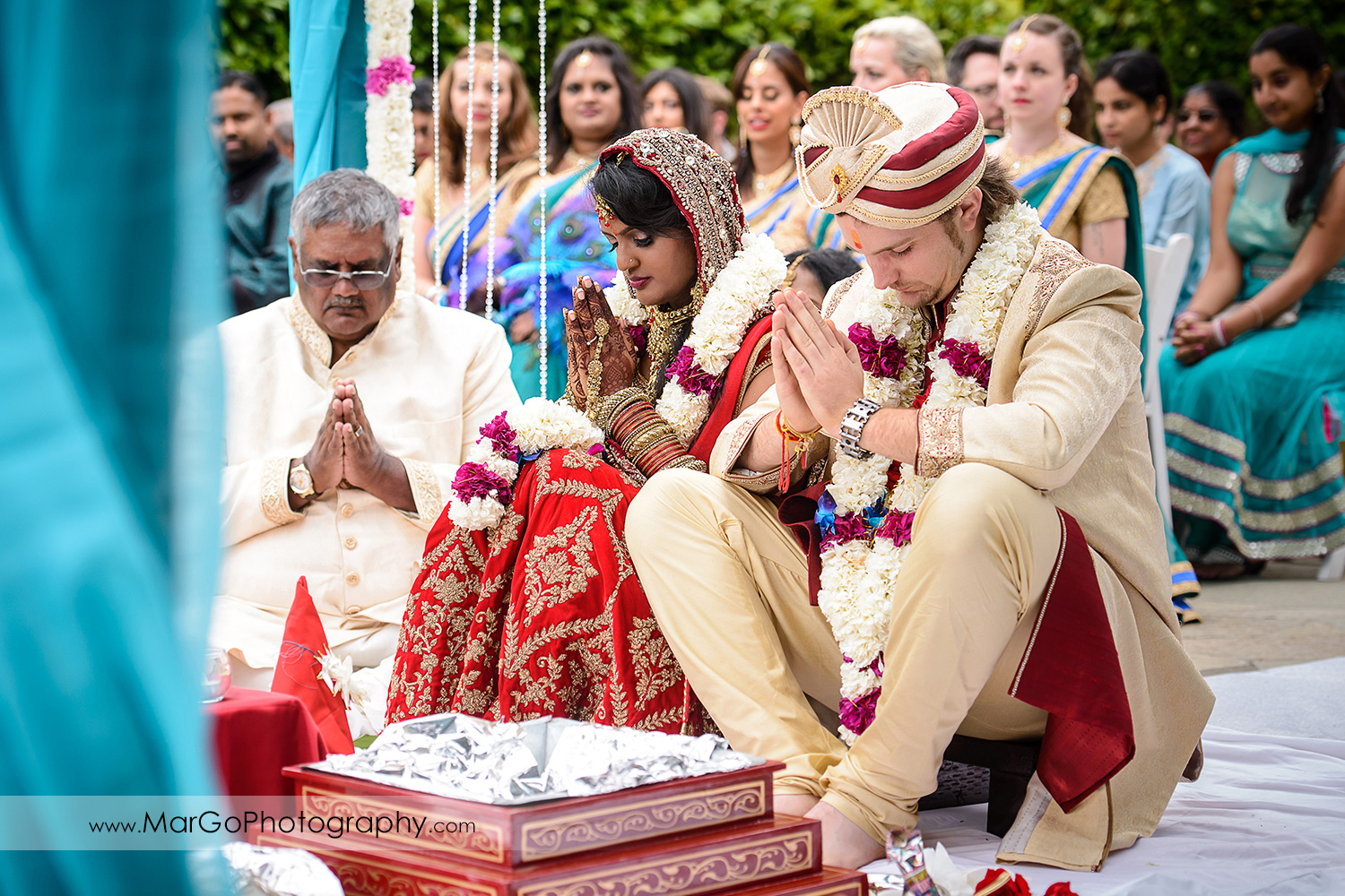 bride and groom during indian wedding at Brazilian Room - Tilden Regional Park, Berkeley