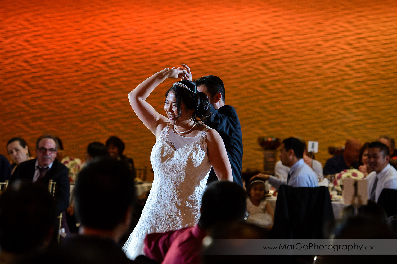 bride during first dance at Hilton San Francisco Airport Bayfront in Burlingame