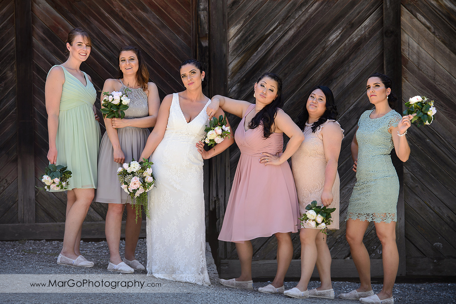 bride and bridesmaids at Picchetti Winery in Cupertino