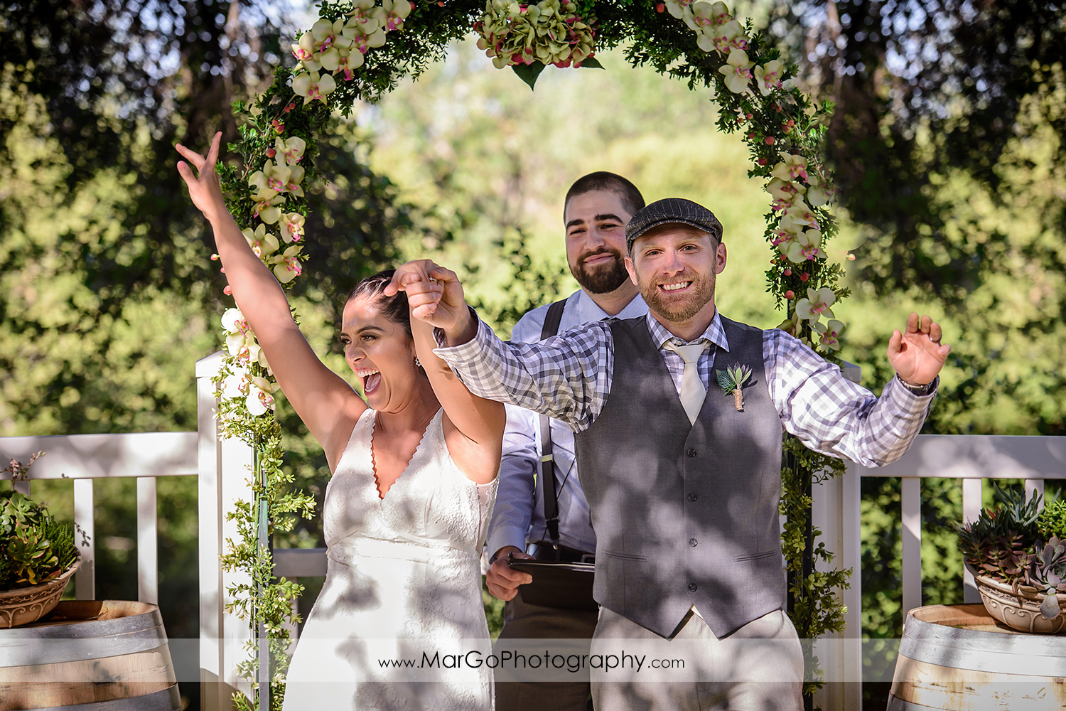 bride and groom after wedding ceremony at Picchetti Winery in Cupertino