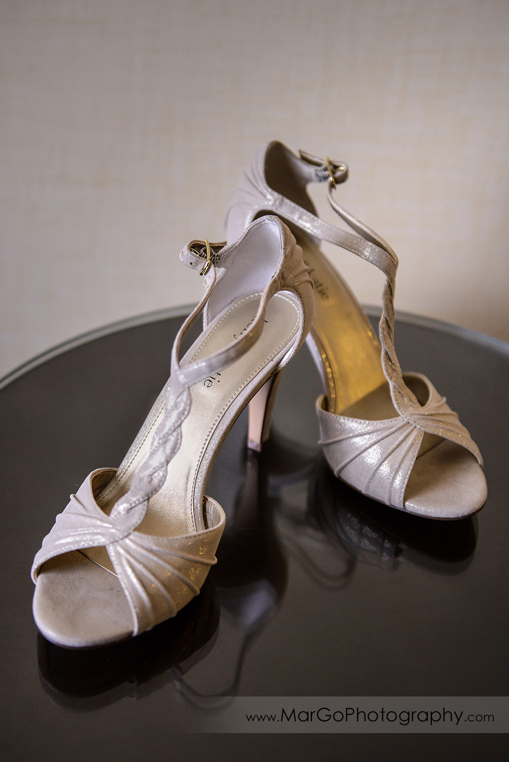 bride's shoes at Hotel Shattuck Plaza in Berkeley