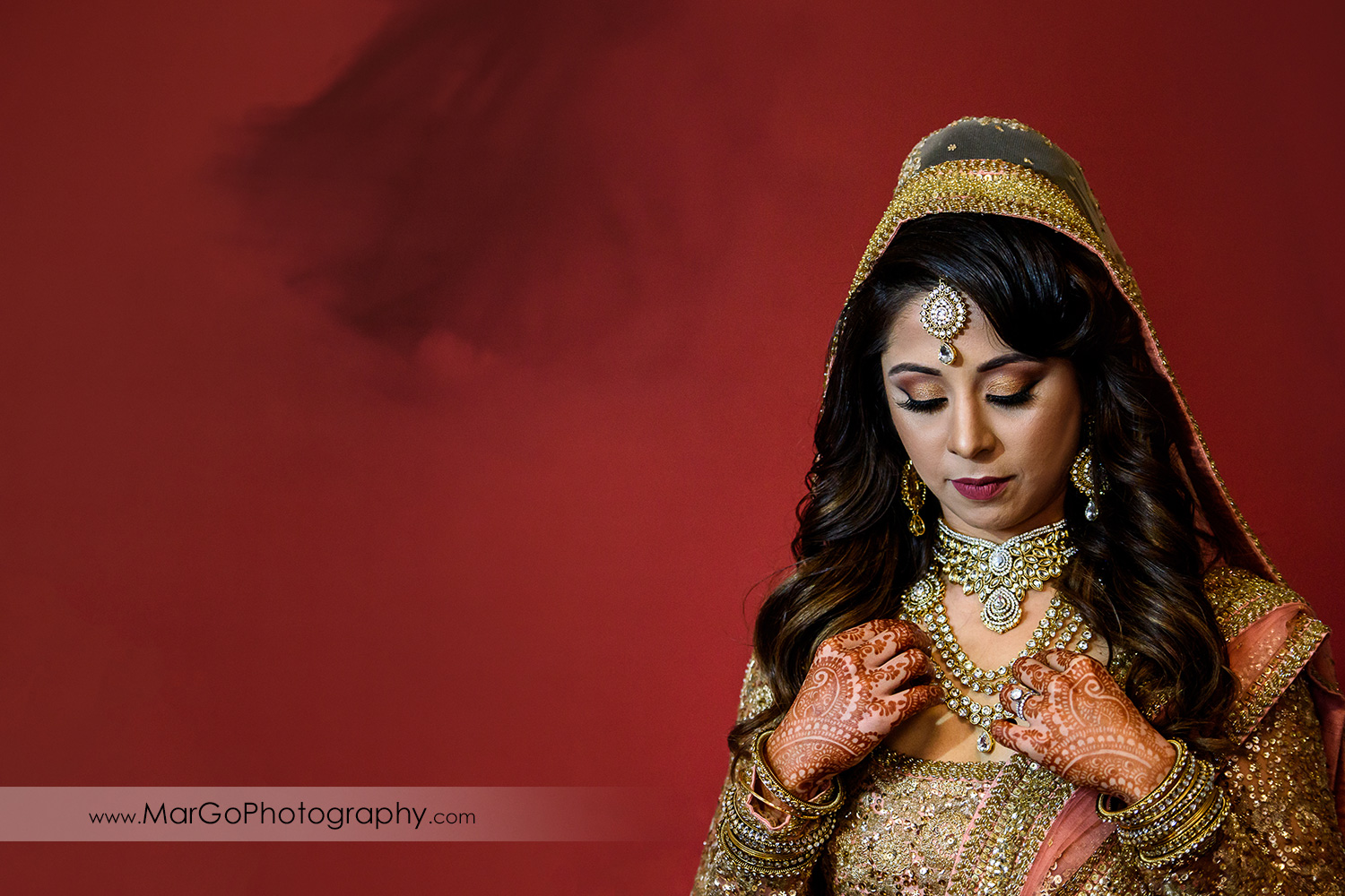 portrait of indian bride at DoubleTree by Hilton Pleasanton at the Club
