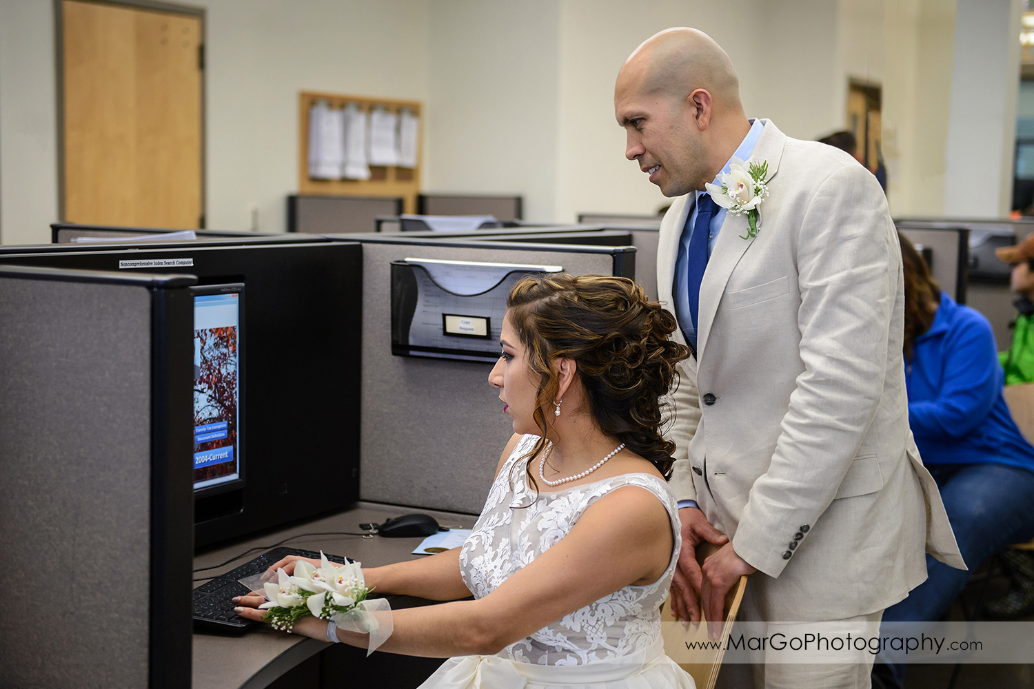 bride and groom appluing for marriage license at Contra Costa County Clerk-Recorder in Martinez