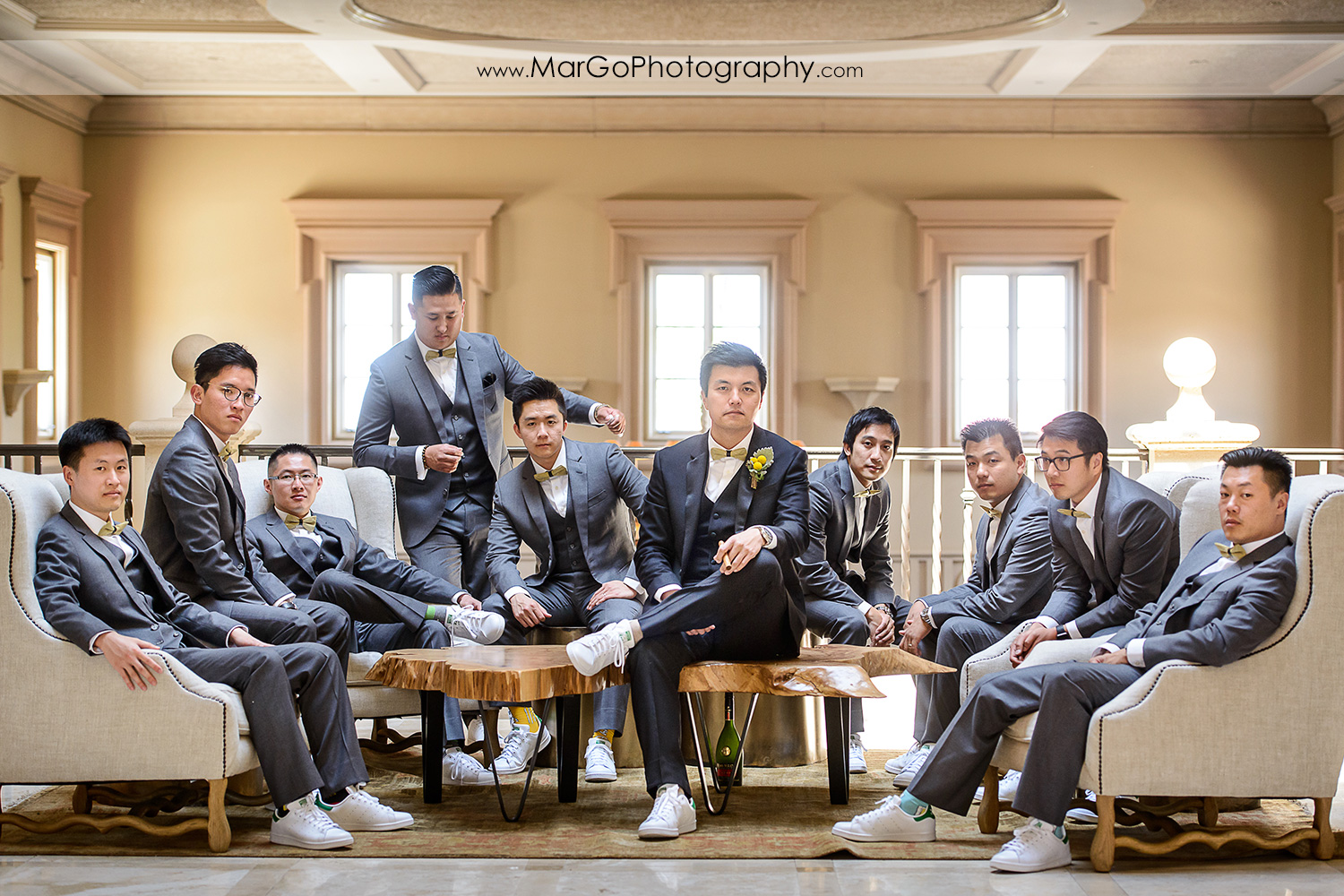 portrait of the groom and groomsmen at the Club at Ruby Hill in Pleasanton