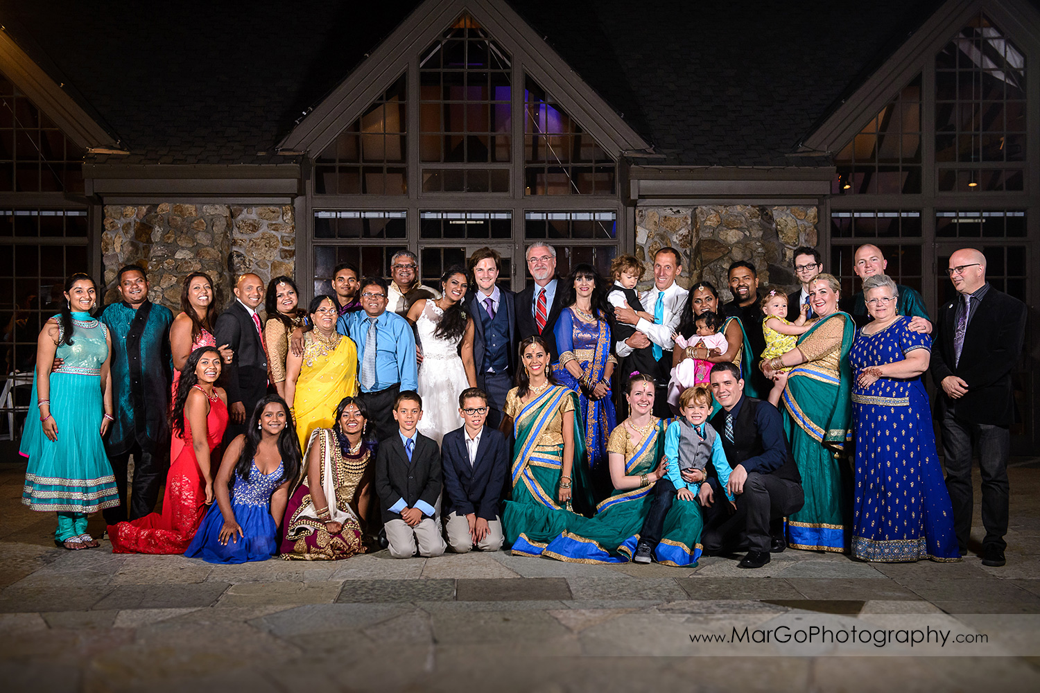 group shot at indian wedding at Brazilian Room - Tilden Regional Park, Berkeley
