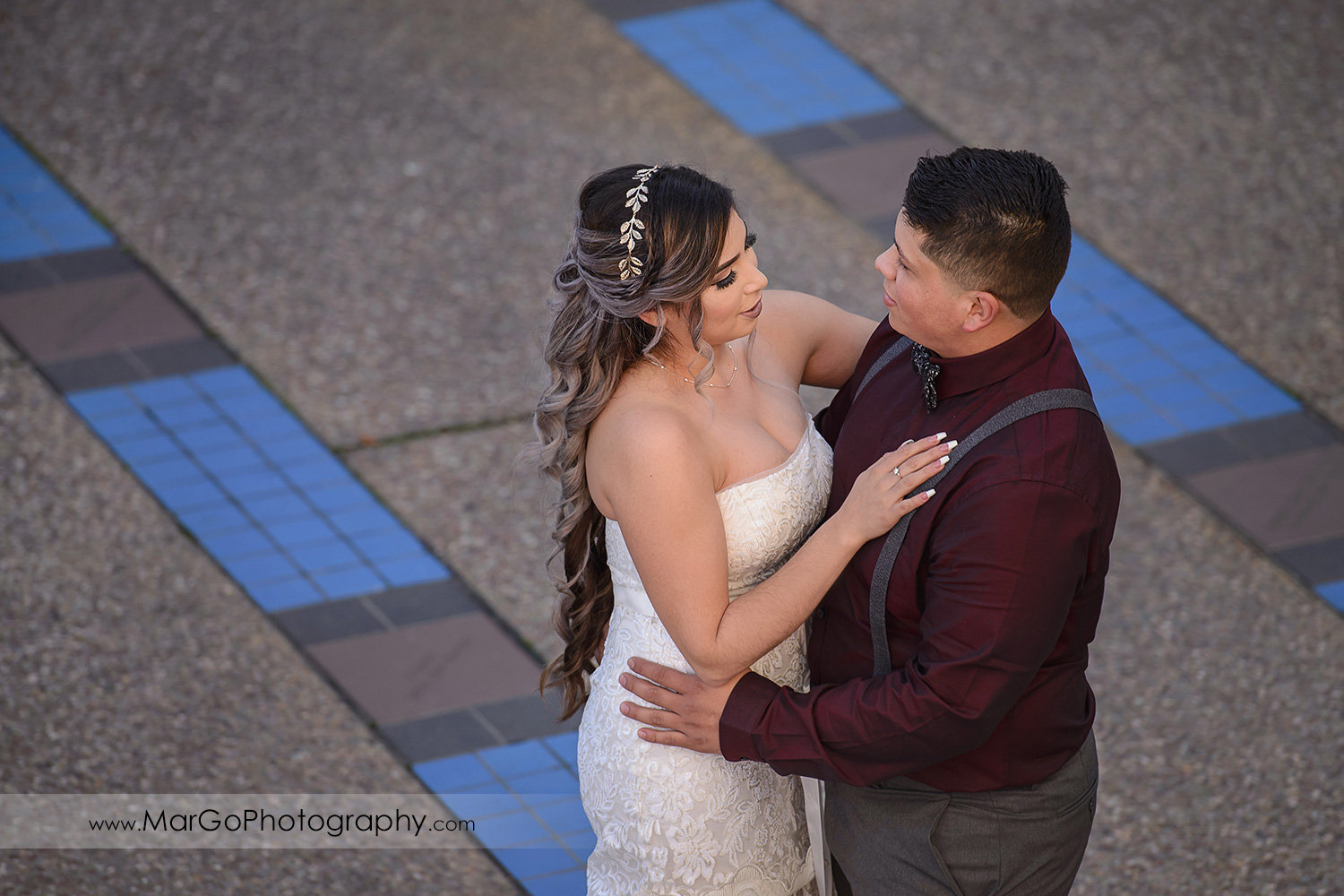 bride and groom together at Pleasant Hill City Hall