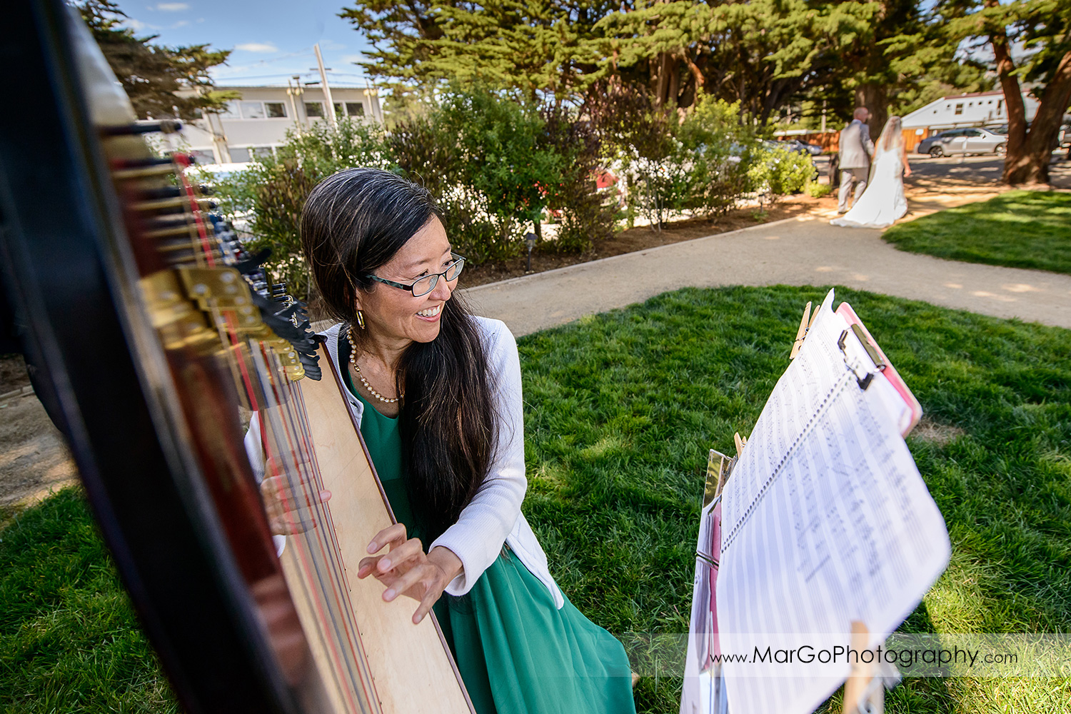 wedding harp player at Mavericks Event Center in Half Moon Bay