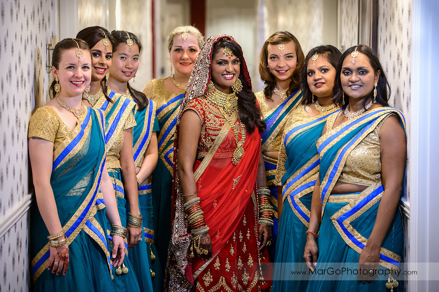portrait of the indian bride and her bridesmaids at Hotel Shattuck Plaza in Berkeley