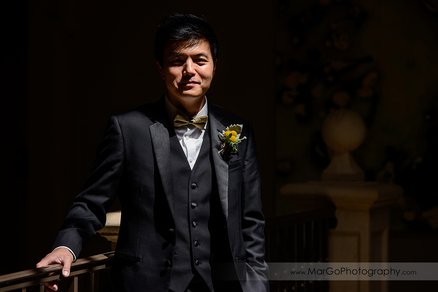 low key portrait of the groom at the Club at Ruby Hill in Pleasanton