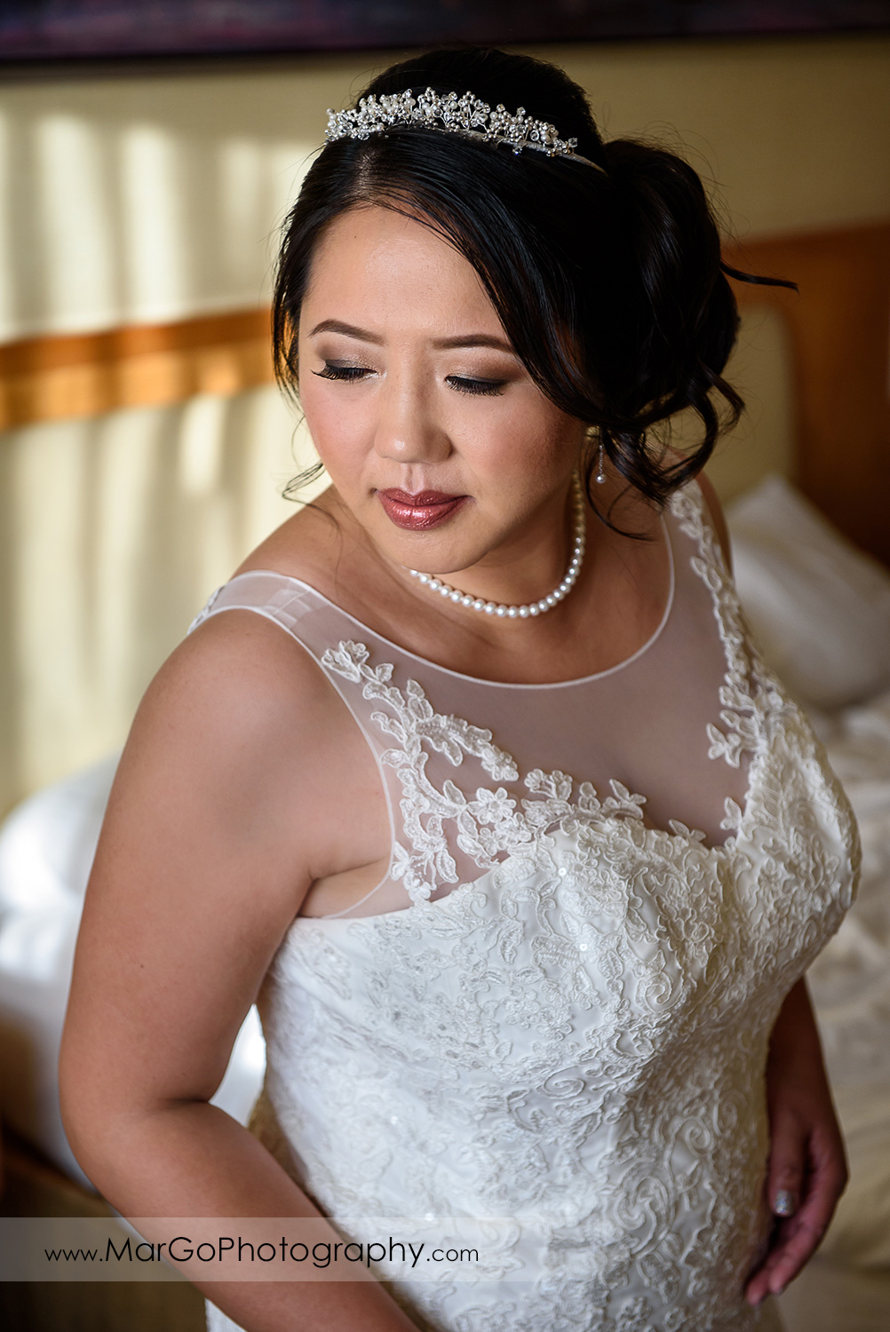 portrait of the bride at Hilton San Francisco Airport Bayfront in Burlingame